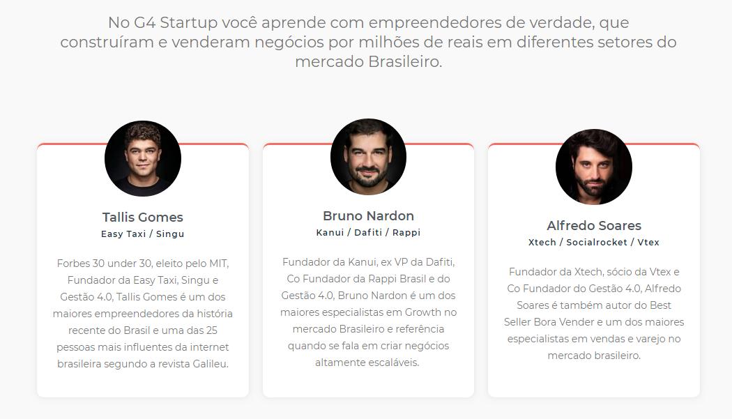 G4 Startups - Instrutores - Empreendedores